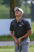 Lloyd Jefferson GO (PHI) reacts to missing his par putt on 9 during Rd 1 of the Asia-Pacific Amateur Championship, Sentosa Golf Club, Singapore. 10/4/2018.<br /> Picture: Golffile | Ken Murray<br /> <br /> <br /> All photo usage must carry mandatory copyright credit (&copy; Golffile | Ken Murray)