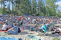 Audience at outside concert Commons Beach Lake Tahoe City California