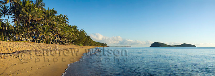 View along Palm Cove beach to Double Island.  Cairns, Queensland, AUSTRALIA