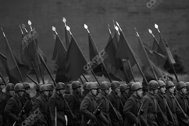 Soldiers, dressed in World War II uniforms rehearsed a parade on Red Square to be performed on the 7th November 2007, the traditional Soviet Communist holiday marking the 1917 revolution, but organised by the Mayor of Moscow, Yuri Luzhkov, one of the leaders of the United Russia party, to mark the event separately to the traditional celebrations held by the Russian Communist Party, in the run up the the Duma elections. Moscow, Russia, November 2, 2007
