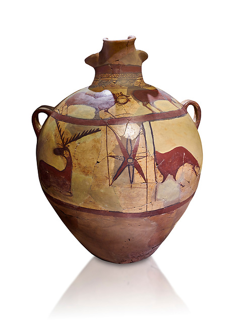 Phrygian terra cotta large jug with handles, decorated with animals, from Gordion. Phrygian Collection, 6th century BC - Museum of Anatolian Civilisations Ankara. Turkey. Against a white background