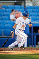 Dunedin Blue Jays third baseman Nash Knight (35) follows through on a swing during a game against the Fort Myers Miracle on April 17, 2018 at Dunedin Stadium in Dunedin, Florida.  Dunedin defeated Fort Myers 5-2.  (Mike Janes/Four Seam Images)