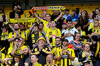Wellington Phoenix fans hold a minute's applause for Martin Crowe during the A-League football match between Wellington Phoenix and Adelaide United at Westpac Stadium, Wellington, New Zealand on Saturday, 6th March 2016. Photo: Nizaam Jones / lintottphoto.co.nz
