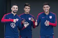 Sebastian Lletget, Ulysses Llanez, Julian Araujo walk onto the field at IMG Academy