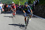 Nairo Quintana (COL) Team Movistar and Ilnur Zakarin (RUS) Team Katusha Alpecin on the slopes of Oropa near the end of Stage 14 of the 100th edition of the Giro d'Italia 2017, running 131km from Castellania to Oropa, Italy. 20th May 2017.<br /> Picture: LaPresse/Fabio Ferrari | Cyclefile<br /> <br /> <br /> All photos usage must carry mandatory copyright credit (&copy; Cyclefile | LaPresse/Fabio Ferrari)