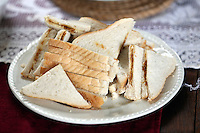Swansea, UK. Saturday 25 October 2014<br /> Pictured: Marmite sandwiches for an afternoon tea at Dylan Thomas' birth place.<br /> Re: Dylan Thomas birthday centenary celebrations at his birthplace, 5 Cwmdonkin Drive, Swansea, south Wales.