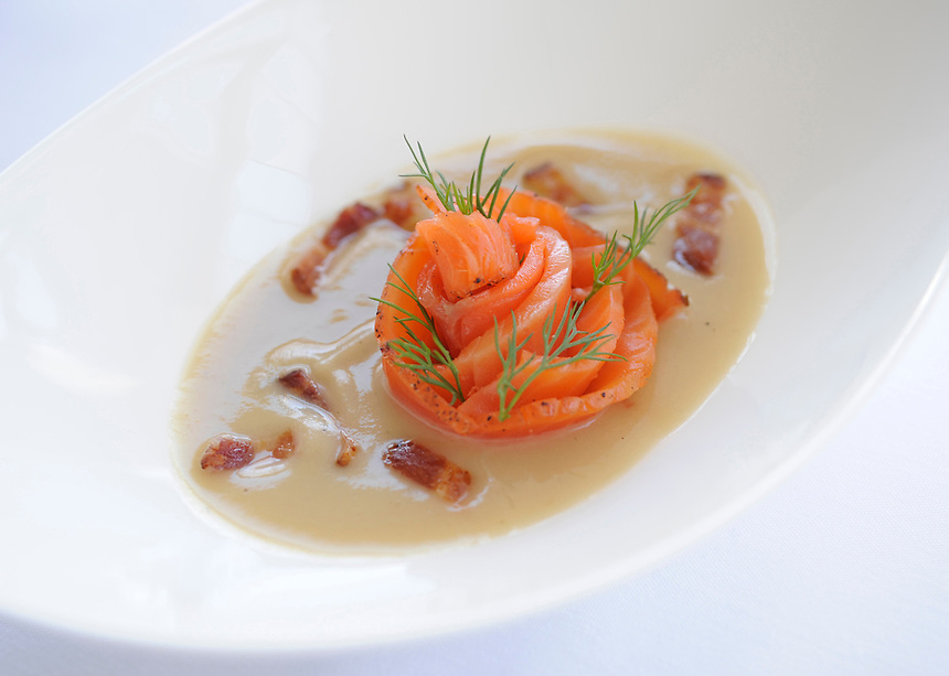 Potato and bacon soup with smoked salmon and dill at  Sanford restaurant in Milwaukee. Ernie Mastroianni photo.