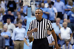 CHAPEL HILL, NC - FEBRUARY 12: Referee Michael Stephens. The University of North Carolina Tar Heels hosted the University of Notre Dame Fighting Irish on February 12, 2018 at Dean E. Smith Center in Chapel Hill, NC in a Division I men's college basketball game. UNC won the game 83-66.