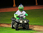 "22 June 2009: Vermont Lake Monsters' mascot ""Champ"" entertains the crowd at a game against the Tri-City ValleyCats at Historic Centennial Field in Burlington, Vermont. The Lake Monsters defeated the visiting ValleyCats 5-4 in extra innings. Mandatory Photo Credit: Ed Wolfstein Photo"