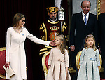 Coronation ceremony in Madrid. Queen Letizia of Spain at Congreso de los Diputados with their children Princess Leonor and enfant Sofía. June 19 ,2014. (ALTERPHOTOS/EFE/Pool)
