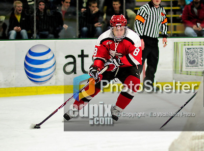 12 December 2009: St. Lawrence University Saints' forward Rick Carden, a Sophomore from Elk Grove Village, IL, in action against the University of Vermont Catamounts at Gutterson Fieldhouse in Burlington, Vermont. The Catamounts shut out their former ECAC rival Saints 3-0. Mandatory Credit: Ed Wolfstein Photo