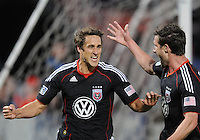 DC United forward Josh Wolff (16) celebrates his score in the 31th minute of the game with teammate Chris Pontius (13)  DC United defeated The Seattle Sounders 2-1, at RFK Stadium, Wednesday  May 4, 2011.