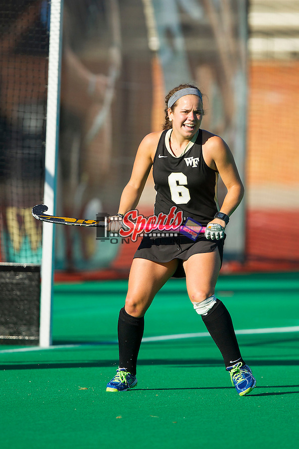 Kari Walkley (6) of the Wake Forest Demon Deacons during second half action against the Liberty Flames at Kentner Stadium on September 13, 2013 in Winston-Salem, North Carolina.  The Demon Deacons defeated the Flames 3-2.  (Brian Westerholt/Sports On Film)