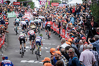 World Champion Alejandro Valverde (ESP/Movistar) trying to catch up with the group at 150m from the finish line. <br /> <br /> 83th Flèche Wallonne 2019 (1.UWT)<br /> 1 Day Race: Ans – Huy 195km<br /> <br /> ©kramon