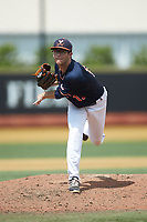 Virginia Cavaliers relief pitcher Riley Wilson (15) follows through on his delivery against the Wake Forest Demon Deacons at David F. Couch Ballpark on May 19, 2018 in  Winston-Salem, North Carolina. The Demon Deacons defeated the Cavaliers 18-12. (Brian Westerholt/Four Seam Images)