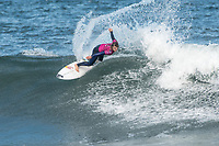 BELLS BEACH, Torquay, Victoria, Australia    (Tuesday, April 3, 2018) Caroline Marks (USA) - Top seeds continue to fall at the Rip Curl Pro Bells Beach, Stop No. 2 on the World Surf League (WSL) Championship Tour (CT), after completing men&rsquo;s Rounds 3 and 4, and the women&rsquo;s Quarterfinals in four-to-six foot (1.2 - 2 metre) conditions. <br /> <br /> Today witnessed all but three WSL Championships dispatched with John John Florence (HAW), Joel Parkinson (AUS), Adriano de Souza (BRA), and Carissa Moore (HAW) out of the draw. Now, only Mick Fanning (AUS), Stephanie Gilmore (AUS), and Gabriel Medina (BRA) represent the class of elite World Champions heading into the Final Series of the iconic Rip Curl Pro Bells Beach event. <br /> <br /> Two-time, reigning WSL Champion Florence is out of the Rip Curl Pro Bells Beach after losing to compatriot Ezekiel Lau (HAW) in the opening heat of the day. In Round 3 Heat 7, Lau put the pressure on Florence by jostling for position. Lau&rsquo;s physical assertion seemed to throw Florence off his game as he struggled to find a wave of substance. Lau, on the other hand, looked confident and powerful in that heat as well as in Round 4, where he defeated Frederico Morais (PRT) and Conner Coffin (USA). <br /> <br /> Photo: joliphotos.com