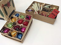 """PLEASE BYLINE Hansons Auctioneers Ltd/Athena Pictures<br /> Pictured: The original box of the tree decorations and baubles<br /> Re: One of the first mass-produced Christmas trees will be sold at auction after owned by the same family for 80 years.<br /> The parents of Steve Rose, 74, used to decorate the vintage 1937 tree which they bought from Woolworths, every year in their home in Markham, Caerphilly and kept on with the tradition after they died.<br /> But Mr Rose feels it is time to say goodbye and give someone else the chance to create a simple, vintage Christmas.<br /> The tree is offered for sale alongside Mr Rose's lights and baubles and has an estimate of £200-300, but a similar item sold last year without any decorations for £420.<br /> Mr Rose, a retired Biology teacher, the only son of a miner, is parting with his heirlooms because he has no children to leave them to.<br /> """"It was our main family tree for years and I remember my mum putting it up every Christmas,"""" he said.<br /> """"Christmas was not an extravagant affair... in the late 1940s you'd get a Christmas sock and inside it was a tangerine, nuts, some loose change and small presents."""