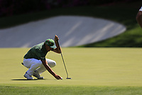 Rickie Fowler (USA) on the 13th green during the 1st round at the The Masters , Augusta National, Augusta, Georgia, USA. 11/04/2019.<br /> Picture Fran Caffrey / Golffile.ie<br /> <br /> All photo usage must carry mandatory copyright credit (© Golffile | Fran Caffrey)