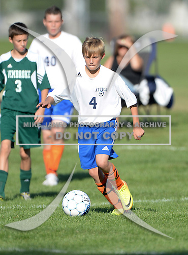 Attica Blue Devils Junior Varsity Soccer game against the Pembroke Dragons at Attica High School in Attica, New York.  (Copyright Mike Janes Photography)