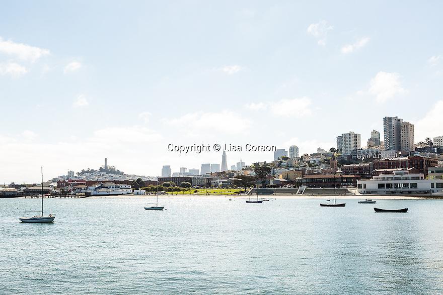 View of the harbor from Aquatic Park Pier in San Francisco Maritime Historic Park. San Francisco, California.