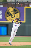 Winston-Salem Dash shortstop Cleuluis Rondon (5) catches a pop fly during the game against the Myrtle Beach Pelicans at BB&T Ballpark on May 10, 2015 in Winston-Salem, North Carolina.  The Pelicans defeated the Dash 4-3.  (Brian Westerholt/Four Seam Images)