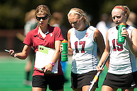 STANFORD, CA - SEPTEMBER 6: Coach Tara Danielson coaches Emily Henriksson and Colleen Ryan against Michigan State on September 6, 2010 in Stanford, California.
