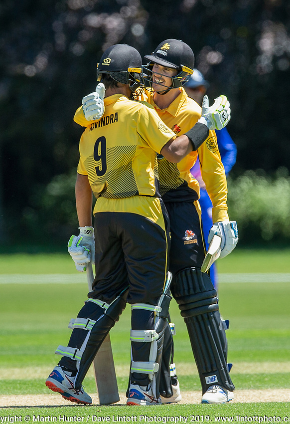 Rachin Ravindra of Wellington celebrates his 100 runs. Wellington Firebirds v Auckland Aces Ford Trophy One Day Match Round Three at Lincoln No.3 in Lincoln, New Zealand on Monday, 25 November 2019. Photo: Martin Hunter / lintottphoto.co.nz