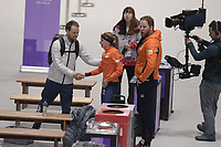 OLYMPIC GAMES: PYEONGCHANG: 16-02-2018, Gangneung Oval, Long Track, 5.000m Ladies, Johan de Wit (coach JPN), Esmee Visser (NED), Remmelt Eldering (coach), ©photo Martin de Jong