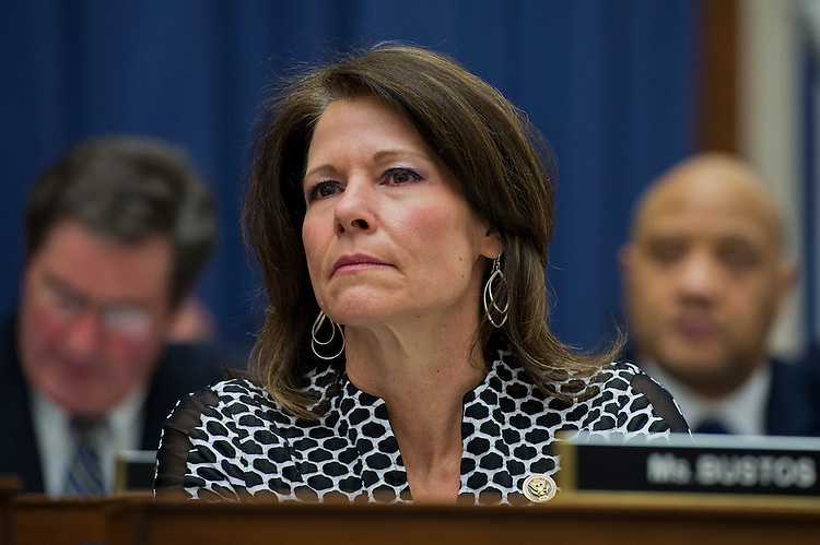 """UNITED STATES - FEBRUARY 11: Rep. Cheri Bustos, D-Ill., attends a House Transportation and Infrastructure Committee hearing titled """"Surface Transportation Reauthorization Bill: Laying the Foundation for U.S. Economic Growth and Job Creation Part I,"""" Rayburn Building, February 11, 2015. Secretary of Transportation Anthony Foxx testified.(Photo By Tom Williams/CQ Roll Call)"""