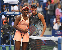 FLUSHING NY- SEPTEMBER 09: ***NO NY DAILIES*** Sloane Stephens poses with Madison Keys after defeating Keys to be the 2017 Us Open women's Champion. Stephens defeats Keys in straight sets 6-3, 6-0 during the Womens finals on Arthur Ashe Stadium at the US Open in the USTA Billie Jean King National Tennis Center on September 9, 2017 in Flushing Queens. <br /> CAP/MPI04<br /> &copy;MPI04/Capital Pictures