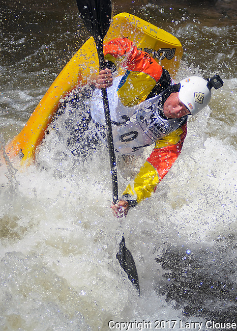 June 9, 2017 - Vail, Colorado, U.S. - Fifty-three year old multiple World Champion, Eric Jackson, goes vertical in the Freestyle Kayak competition during the GoPro Mountain Games, Vail, Colorado.  Adventure athletes from around the world meet in Vail, Colorado, June 8-11, for America's largest celebration of mountain sports, music, and lifestyle.