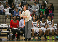 Connally  head coach Candi Harvey reacts to play action against Hutto December 19, 2014 at Cougar Gym.