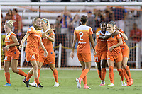 Houston, TX - Saturday July 15, 2017: Andressa Cavalari Machry celebrates her goal with her teammates during a regular season National Women's Soccer League (NWSL) match between the Houston Dash and the Washington Spirit at BBVA Compass Stadium.