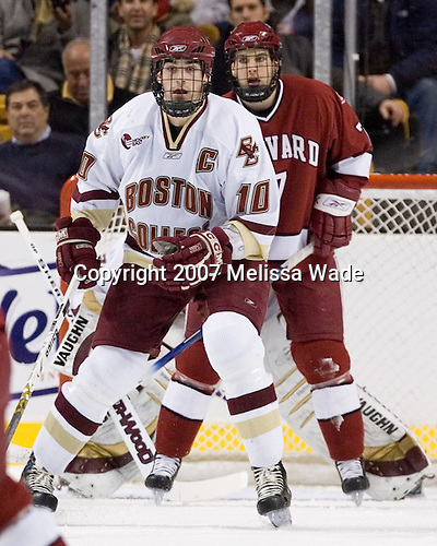 Brian Boyle (Boston College - Hingham, MA), Ryan Maki (Harvard University - Shelby Township, MI) = The Boston College Eagles defeated the Harvard University Crimson 3-1 in the first round of the 2007 Beanpot Tournament on Monday, February 5, 2007, at the TD Banknorth Garden in Boston, Massachusetts.  The first Beanpot Tournament was played in December 1952 with the scheduling moved to the first two Mondays of February in its sixth year.  The tournament is played between Boston College, Boston University, Harvard University and Northeastern University with the first round matchups alternating each year.
