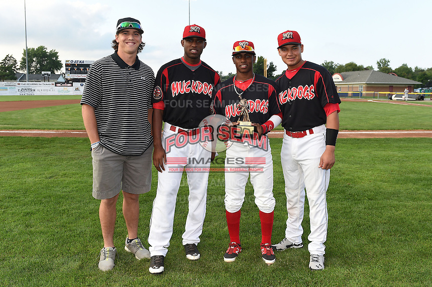Batavia Muckdogs all-star selections Michael Mader, Alex Carreras, Mason Davis - who also was awarded the teams most popular player by the booster club, and Rodrigo Vigil pose for a photo before a game against the Mahoning Valley Scrappers on August 22, 2014 at Dwyer Stadium in Batavia, New York.  Mahoning Valley defeated Batavia 2-1.  (Mike Janes/Four Seam Images)
