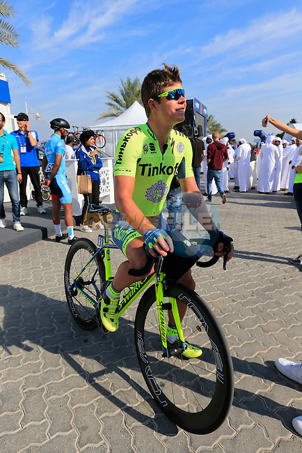Juraj Sagan (SVK) Tinkoff before the start of Stage 1, the Dubai Silicon Oasis Stage, of the 2016 Dubai Tour starting at the Dubai International Marine Club and running 175km to Fujairah, Mina Seyahi, Dubai, United Arab Emirates. 3rd February 2016.<br /> Picture: Eoin Clarke | Newsfile<br /> <br /> <br /> All photos usage must carry mandatory copyright credit (&copy; Newsfile | Eoin Clarke)