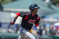 Lake Elsinore Storm Edward Olivares (11) hustles down the first base line against the Rancho Cucamonga Quakes at LoanMart Field on April 22, 2018 in Rancho Cucamonga, California. The Storm defeated the Quakes 8-6.  (Donn Parris/Four Seam Images)