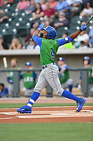 Right fielder Khalil Lee (9) of the Lexington Legends bats in a game against the Columbia Fireflies on Saturday, April 22, 2017, at Spirit Communications Park in Columbia, South Carolina. Lexington won, 4-0. (Tom Priddy/Four Seam Images)