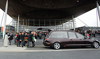 Pictured: The coffin is carried into a hearse outside the Senedd Wednesday 31 May 2017<br />