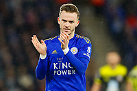 11th January 2020; King Power Stadium, Leicester, Midlands, England; English Premier League Football, Leicester City versus Southampton; James Maddison of Leicester City encourages the crowd at a corner - Strictly Editorial Use Only. No use with unauthorized audio, video, data, fixture lists, club/league logos or 'live' services. Online in-match use limited to 120 images, no video emulation. No use in betting, games or single club/league/player publications