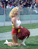 Unidentified Washington Redskins Cheerleader on the sidelines of the  game against the San Francisco Forty-Niners at RFK Stadium in Washington, D.C. on October 4, 1981.  The Forty-Niners won the game 30 - 17.<br /> Credit: Howard L. Sachs / CNP