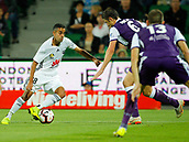 2nd February 2019, HBF Park, Perth, Australia; A League football, Perth Glory versus Wellington Phoenix; Sarpreet Singh of Wellington Phoenix takes the ball past the defence of Dino Djulbic of the Perth Glory