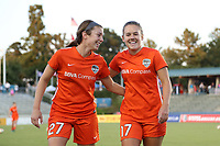 "Cary, North Carolina  - Saturday September 09, 2017: Caity Heap and Andressa Cavalari Machry ""Andressinha"" prior to a regular season National Women's Soccer League (NWSL) match between the North Carolina Courage and the Houston Dash at Sahlen's Stadium at WakeMed Soccer Park. The Courage won the game 1-0."