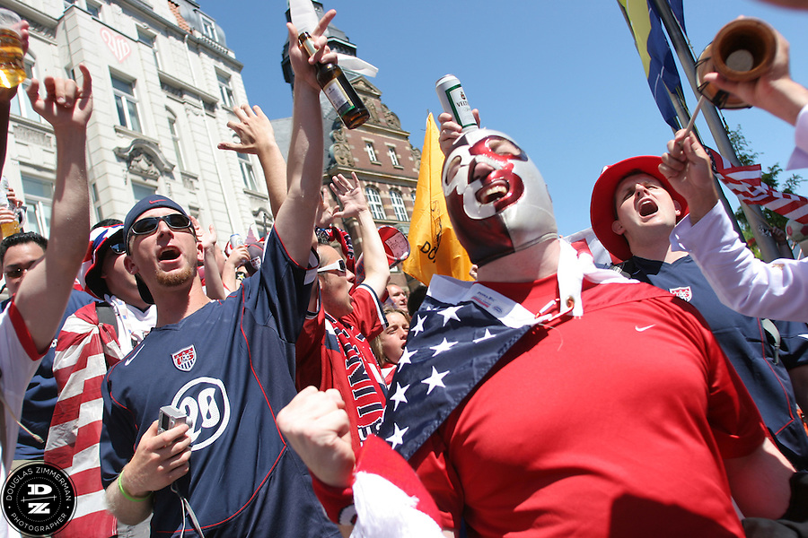 USA National Soccer Team fans join together to cheer on the team during a pep rally outside the Gelsenkirchen Main train station before their FIFA World Cup First round match against the Czech Republic on Monday June 12th, 2006.  The United States lost lost the match 3-0.