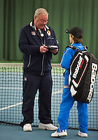 Rotterdam, The Netherlands, 07.03.2014. NOJK ,National Indoor Juniors Championships of 2014, Reporting to umpire  Allard Eeverts<br /> Photo:Tennisimages/Henk Koster