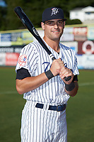 Max Burt (17) of the Pulaski Yankees poses for a photo prior to the game against the Greenevile Reds at Calfee Park on June 23, 2018 in Pulaski, Virginia. The Reds defeated the Yankees 6-5.  (Brian Westerholt/Four Seam Images)