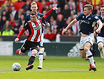 John Fleck of Sheffield Utd takes a shot on goal during the championship match at the Bramall Lane Stadium, Sheffield. Picture date 14th April 2018. Picture credit should read: Simon Bellis/Sportimage