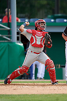 Auburn Doubledays catcher Wilmer Perez (20) throws down to second base during a NY-Penn League game against the Batavia Muckdogs on June 19, 2019 at Dwyer Stadium in Batavia, New York.  Batavia defeated Auburn 5-4 in eleven innings in the completion of a game originally started on June 15th that was postponed due to inclement weather.  (Mike Janes/Four Seam Images)