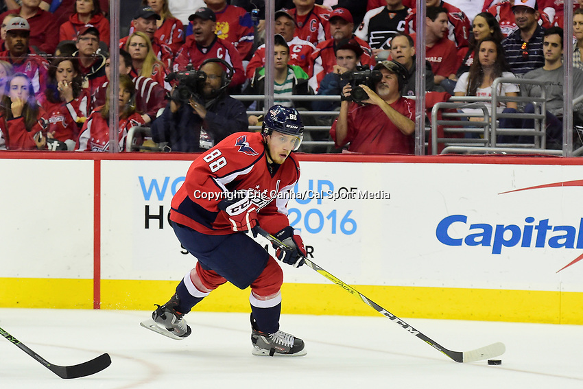Friday, April 22, 2016: Washington Capitals defenseman Nate Schmidt (88) in game action during game 5 of the first round of the National Hockey League Eastern Conference playoffs  between the Philadelphia Flyers and the Washington Capitals held at the Verizon Center in Washington, DC. The Flyers defeat the Capitals 2-0. Eric Canha/CSM