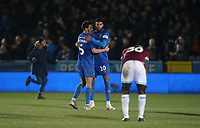AFC Wimbledon's Will Nightingale and Jake Jervis celebrate at the final whistle<br /> <br /> Photographer Rob Newell/CameraSport<br /> <br /> Emirates FA Cup Fourth Round - AFC Wimbledon v West Ham United - Saturday 26th January 2019 - Kingsmeadow Stadium - London<br />  <br /> World Copyright © 2019 CameraSport. All rights reserved. 43 Linden Ave. Countesthorpe. Leicester. England. LE8 5PG - Tel: +44 (0) 116 277 4147 - admin@camerasport.com - www.camerasport.com